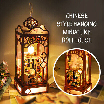 Hanging Miniature Dollhouse Wooden Doll House Model Furniture LED Chinese Style