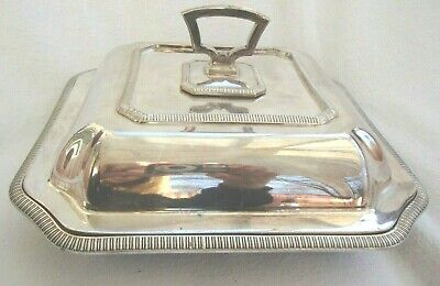 Antique Country House Entree Dish Epns Silver Plate Three Piece Table Tureen