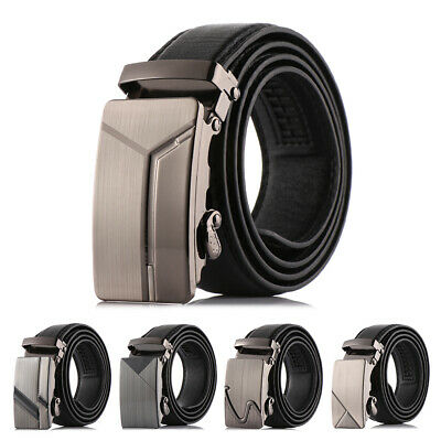 12Styles Leather Belt Mens Ratchet Dress Belts With Adjustable Automatic Buckle`