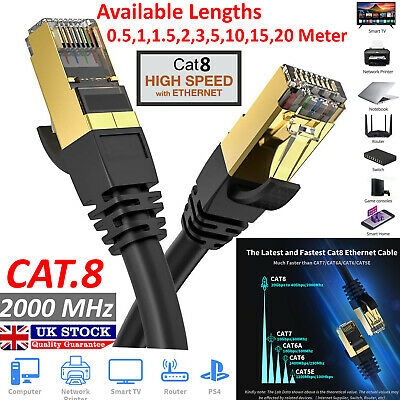 1m to 20m RJ45 CAT8 Ethernet Network 40Gbps Patch Lead Cable Black Lot