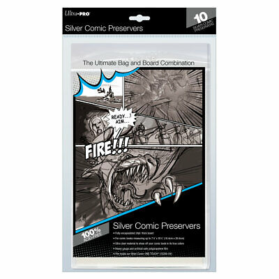 (Pack of 10) Ultra Pro Comic Book Preservers SILVER AGE Size Bags Sealed Boards