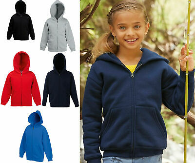 Kids Hoodie Full Zip Boys & Girls Fruit of the Loom School Sweatshirt SS825