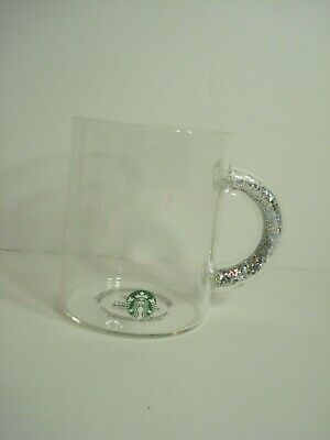 Starbucks Glitter Handle Glass Mug 2019 Holiday Holographic Sold Out NEW Sticker