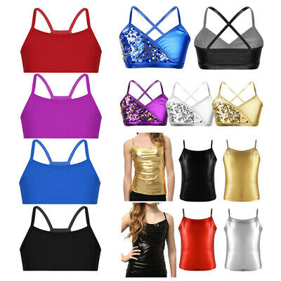 Girls Spaghetti Strap Camisole Crop Top Kid Dance Gym Bra Vest Tank Tops Costume
