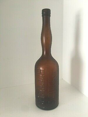 Vintage Brown Amber Glass REEDS BITTERS Ladies leg 1870s