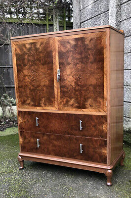 Superb Walnut Art Deco Tallboy Cabinet/ Chest Of Drawers  Amazing Veneers