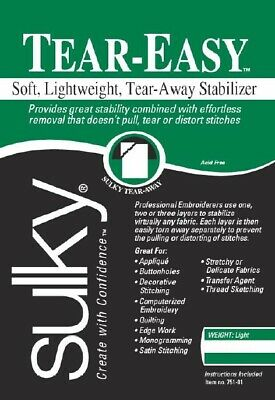 Sulky Tear-Easy Soft Lightweight Tear Away Embroidery Backing Stabilizer