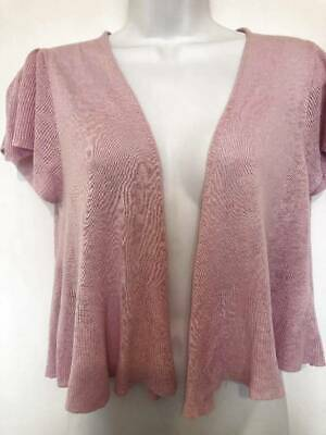 nwt MARKS & SPENCER pale pink linen blend s/sleeve edge to edge cardigan UK 14