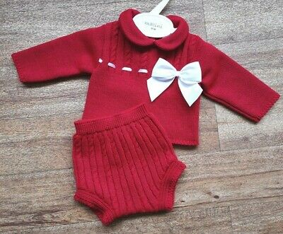 Baby Girls Knitted Spanish Romany Style 2 piece set Jam pants red  0-3 - 18 m