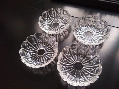 """Set of (4) Vintage Glass Chandelier Bobeche Replacement Parts...4 7/8"""" Wide"""