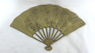 Very Nice Vintage Heavy Solid Brass Price Products Fan Bird And Flowers