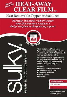 Sulky Heat Away Traceable Embroidery Topping - Temporary Clear Film Stabilizer