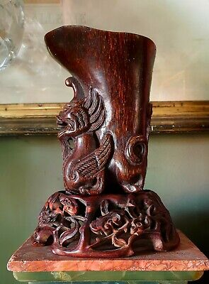 Antique CHINESE 19TH c OX HORN LIBATION CARVED Dragon CUP statue rosewood stand