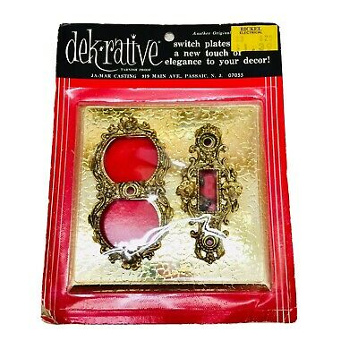 Vintage Dekrative Switch Plate Outlet Cover Ornate Gold Metal JA-MAR Casting NOS
