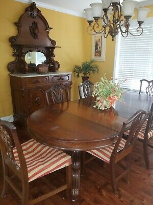 1800's VICTORIAN DINING ROOM SUITE Walnut, Table, 10 chairs, buffet, table co