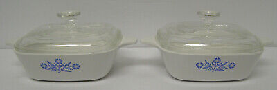 2 Corning Ware  P-41-B Petite Casserole Dishes With Glass Lids Made In The Usa
