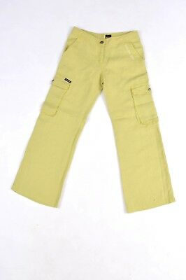 CK CALVIN KLEIN Jeans Lime Yellow Green 100% Flax Pants Trousers 10 Yrs VGC