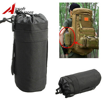 600D Tactical Outdoor MOLLE Water Bottle Pouch Kettle Holder Carrier Bag Black