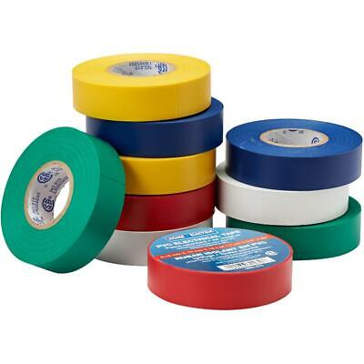 """10 pack Assorted Colours of 7mil x 3/4"""" x 60' CSA Approved Electrical Tape"""