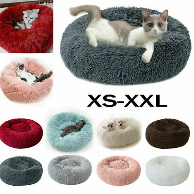 Comfy Calming Dog/Cat Bed Round Super Soft Plush Pet Beds Marshmallow Kitten Bed