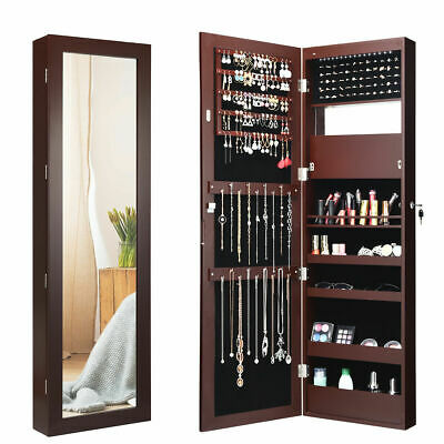 Wall Door Mounted Lockable Jewelry Cabinet Armoire Organizer w/LED Brown