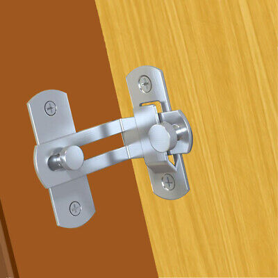 90 Degree Stainless Steel Sliding Door Chain Lock Cabinet Latch Catch Clasp #S5