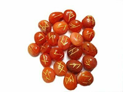 Red Carnelian Rune Set for reiki healing with stylish 25 pcs rune set