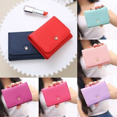 Women Lady Crown Short Mini Money Wallet Fold Bag Coin Purse Card Holder  US