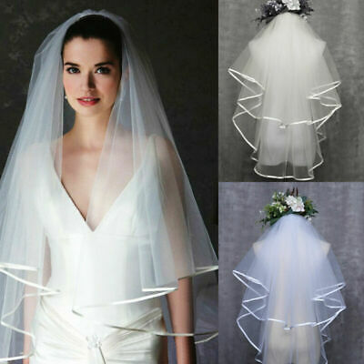2T Short White Satin Edge Bridal Wedding Elbow Length Veil With Comb Ivory White
