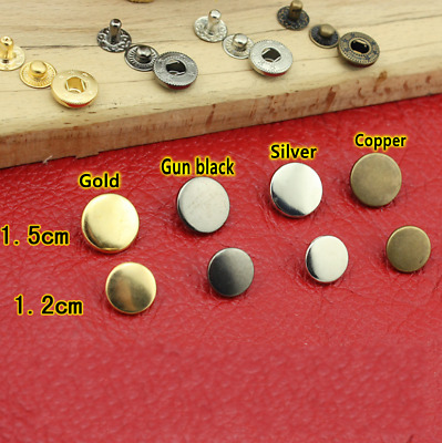 10pcs Leather Craft DIY Pure Copper 1.2cm(633#)/1.5cm(831#) Snap Buttons Tool