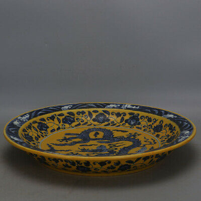 """Chinese Xuande yellow Blue and white Porcelain hand painted dragon plate 16.1"""""""