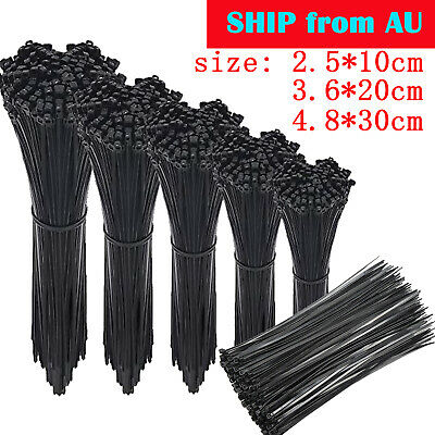 1000pcs Cable Tie Zip Tie Black Nylon UV Stabilised Electrical Wire Bundle Bulk