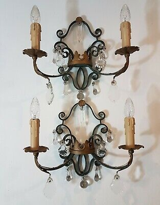 Vintage French Wrought Iron Green & Gold Tole & Crystal Wall Lights with Coronet