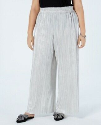 INC Women's 2x Plus Size Wide-Leg Pants Crinkle Shine, Party, Silver, Size 2x