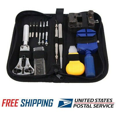 13 Pcs Watch Battery Change Repair Tool Band Pin Remover Back Case Opener Kit US