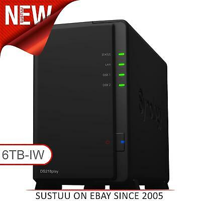 Synology DiskStation DS218play 6TB (2 x 3TB SGT-IW) 2 Bay Desktop NAS Unit NEW