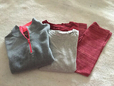 Lot 4 Girls Old Navy SO Shirts Fleece Top Leggings Coral Red Gray Sz 8 10/12