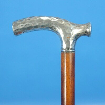 Antique American? Walking CANE Sterling Hammered Silver Handle Wood Body c1920