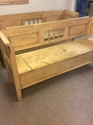 Pair Antique Pine Monks Bench Settle Six Feet Wide