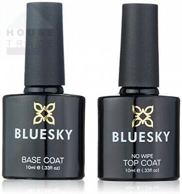Bluesky No Wipe Top Coat and Soak Off Base Bundle, 10 ml (Requires 10