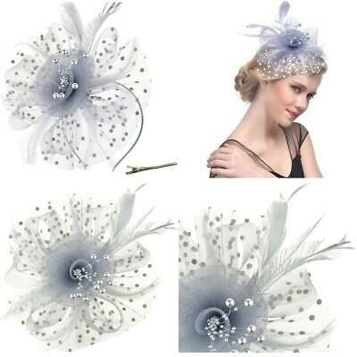 Dreshow Fascinators Hat Flower Mesh Ribbons Feathers On A Headband And A Forked