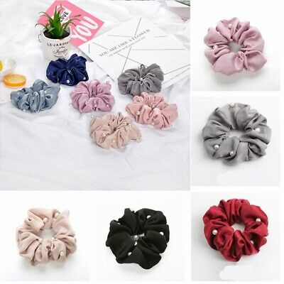 Headband Silk Solid Holder  Girls Scrunchies Hair Pearls Ponytail Tie with