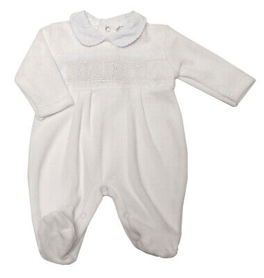 Baby Girls Boys Spanish Style Romany White Velour Embroidered Babygrow Outfit