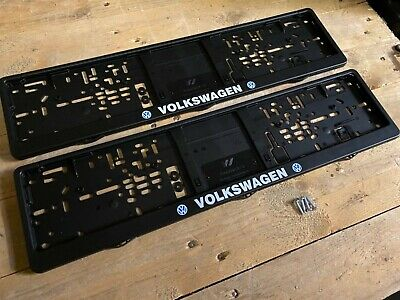 Volkswagen Number Plate Surrounds Frames Pair VW polo golf Passat up Lupo Tdi gt