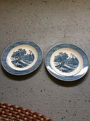 """PAIR CURRIER & IVES BLUE By Royal Salad Plate(s) 7 1/4"""" -Old Mark On Back."""