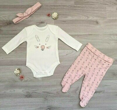 New Ex Matalan Baby Girls Pink Cute Bunny Top Bottoms Headband Set outfit Easter
