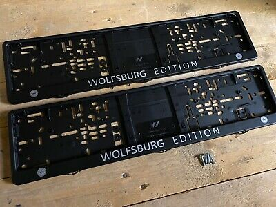 Wolfsburg Edition Number Plate Surrounds Frames Pair VW golf polo beetle caddy s