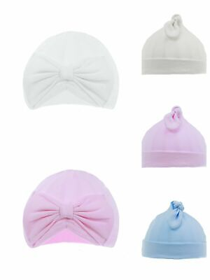 Baby Girls Soft Touch Turban Bow Hat 100% Cotton Pink or White 0-6 months