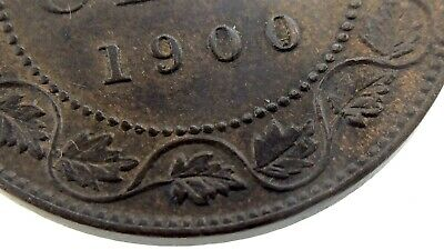 1900 No H Canada 1 Cent Large Copper Penny Circulated Victoria Coin M910