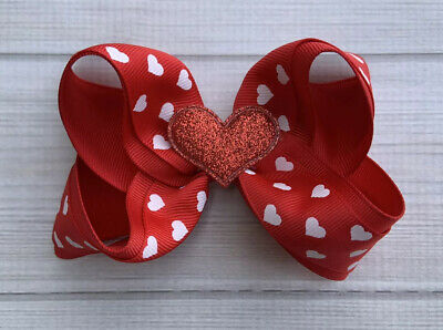 "4.5"" Handmade Red Valentine Boutique Hair Bow /Baby Toddler Girl Valentine Bow"